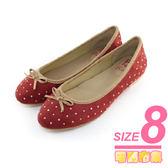 8號-超零碼Paidal 優雅都會聚焦燙片款娃娃鞋-紅