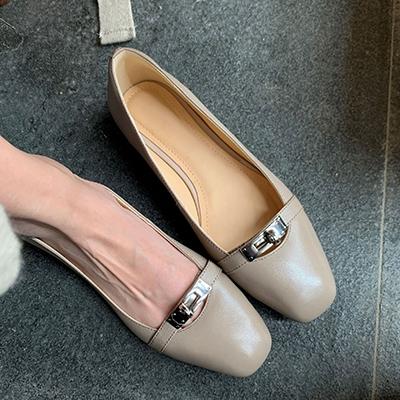 羊皮平底鞋 一腳蹬方頭休閒鞋 真皮手工女鞋/2色-夢想家-標準碼-0401