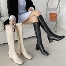 長筒騎士靴女潮ins2020秋冬新款方頭粗跟馬靴不過膝靴高筒瘦瘦靴 南風小鋪