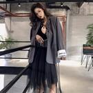 港風春季新款韓版復古寬鬆顯瘦拼色袖網紅chic小西裝外套女ins潮