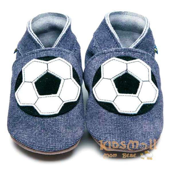 英國製Inch Blue,真皮手工學步鞋禮盒,Football-Denim
