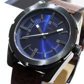 【萬年鐘錶】DIESEL 簡單 藍錶面  槍管黑錶殼  棕色皮帶   大錶徑 51mm DZ1598