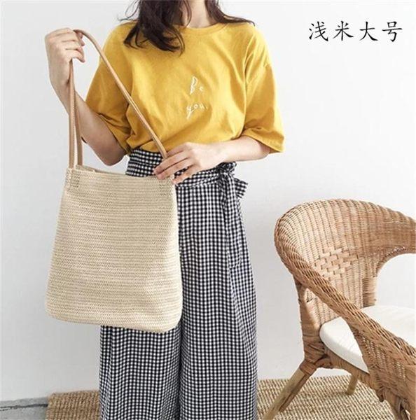 百搭新款時尚超輕單肩草編沙灘包大容量簡約休閒編織手提水桶女包