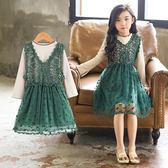 雙十二預熱 童裝新款兒童裙子女童洋氣春裝長袖公主韓版連身裙蕾絲春款潮