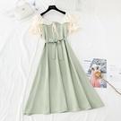 平口洋裝/一字領 裙子2021年新款夏天法式少女初戀荷葉花邊桔梗顯瘦一字肩連身裙女
