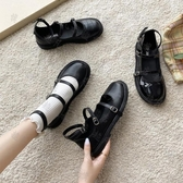 娃娃鞋 小皮鞋女英倫風學生百搭軟妹黑色淺口一字帶單鞋復古日系Jk制服鞋-10週年慶