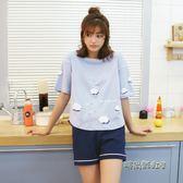 睡衣女夏季純棉短袖短褲韓版清新學生大碼胖mm寬鬆200斤兩件套裝「時尚彩虹屋」
