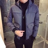 夾克外套-連帽時尚後背背影印花夾棉男外套3色73qa3[時尚巴黎]