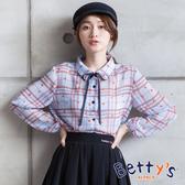 betty's貝蒂思 微透膚格紋領口綁結雪紡襯衫(淺藍)