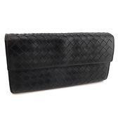 【奢華時尚】秒殺推薦!BOTTEGA VENETA 黑色編織羊皮對折式經典10卡長夾(八五成新)#23914