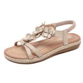 平底涼鞋 波西米亞民族風水鉆平底露趾涼鞋女夏新款平跟花朵沙灘女鞋羅馬鞋