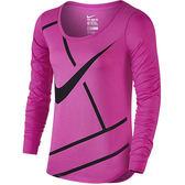 Nike AS W PRACTICE COURT 女裝 上衣 長袖 網球 棉質 粉 紅 黑 【運動世界】 844826-640
