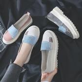 單鞋女2019春季新款鬆糕厚底拼接軟妹鞋百搭韓版學生平底娃娃鞋子