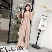 連身褲夏季新款韓版純色吊帶闊腿褲女高腰垂感修身網紅連體褲女摩可美家