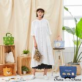 【Tiara Tiara】百貨同步新品aw 小葉子印花排扣洋裝(白/深藍)