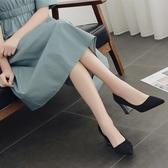 小清新尖頭高跟鞋女粗跟新款韓版亮片職業工作鞋中跟單鞋子女 雙12全館免運