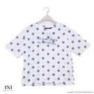 【INI】充滿自在、清新圓點舒適上衣.藍色