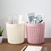 筆筒 鏤空多功能小筆筒塑料辦公收納筒 創意學生簡約桌面收納盒 3C公社