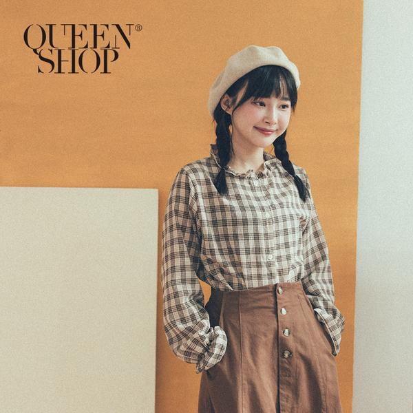 Queen Shop【01096440】荷葉領小格紋上衣 *現+預*