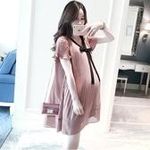 漂亮小媽咪 韓系 洋裝 【D1188】 雪紡 百褶 短袖 洋裝 孕婦裝 雪紡裙 孕婦洋裝 []