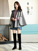 秋冬8折[H2O]圓領釘珠設計長袖針織毛衣 - 紫/米白/灰色 #9650009