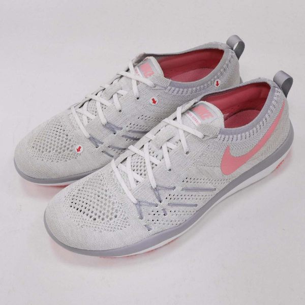 【NG出清】Nike 訓練鞋 Wmns Free TR Focus Flyknit 右鞋面發黃 灰 粉紅 飛線編織 運動鞋 女鞋【PUMP306】