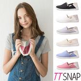 懶人鞋-TTSNAP MIT兩穿2WAY帆布真皮休閒鞋 黑/白/灰/米/藍/粉/深藍