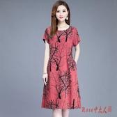 中老年2020連身裙洋裝夏媽媽裝中長款純棉綢裙40歲寬鬆短袖口袋裙 OO11402【Rose中大尺碼】