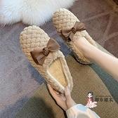 毛毛鞋 2021冬天豆豆鞋女韓版刷毛棉鞋女鞋蝴蝶結秋冬季外穿潮秋鞋毛毛鞋