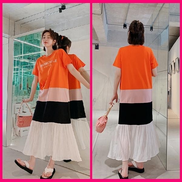 洋裝 韓系春夏休閒寬鬆拼接雪紡壓皺短袖連身長裙 共1色 L-3XL 依二衣