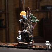 明月常在小僧創意倒流香檀香沉香香薰爐茶道居室客廳仿古擺件禮品