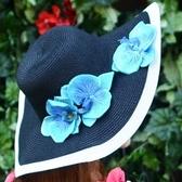 草帽-防曬大帽簷戶外優雅氣質女遮陽帽73rp89【時尚巴黎】
