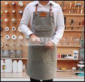 韓版圍裙定做淺灰色牛仔帆布工作服咖啡店西餐廳繪畫真皮定制LOGOLG-882025