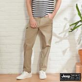 【JEEP】男裝 都市休閒運動風長褲-卡其