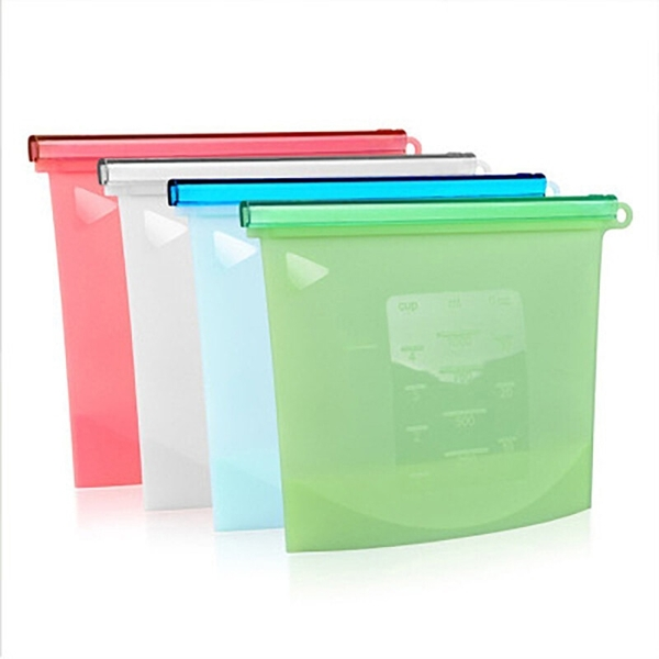 現貨!SGS合格 食品矽膠保鮮袋-1500ml 可微波水煮機洗 環保保鮮袋 食物收納夾鏈帶 密封袋 #捕夢網