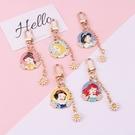 《花花創意会社》獨家。韓國迪士尼公主花朵質感金屬吊飾小掛件包包鑰匙圈【H7111】