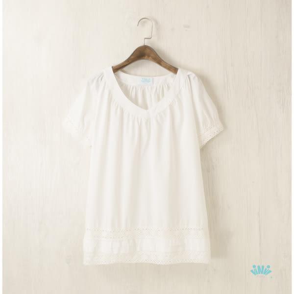 viNvi Lady 棉質鏤空蕾絲綴邊短袖上衣 短袖T恤