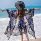 民族风中长款海边度假防晒衣雪纺开衫女夏流苏披肩薄外套泳衣外套『艾麗花園』