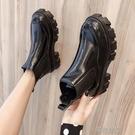 快速出貨 短靴高跟鞋馬丁靴女薄款英倫風單靴厚底增高百搭天機車瘦瘦短靴子【 【全館免運】】