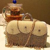 珍珠晚宴包-精美水鑽歐美時尚女手拿鏈條包6色71as5[巴黎精品]