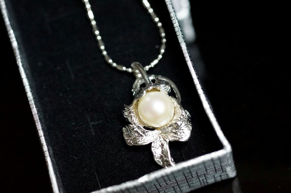 【喨喨飾品】珍珠純銀花墜   S290