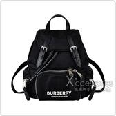 BURBERRY RUCKSACK白字LOGO尼龍扣式後背包(小/黑)
