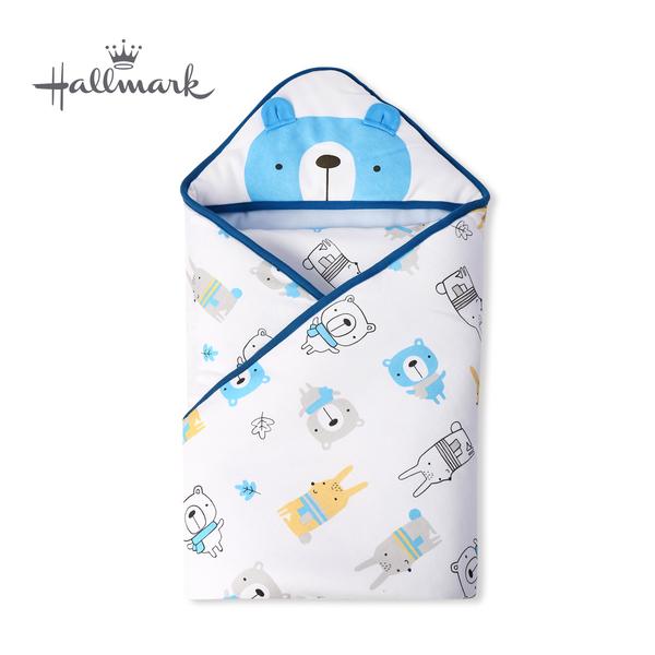 Hallmark Babies 圍巾小熊純棉包巾/毯子優雅藍 HH3-N01-AB-AB-MB