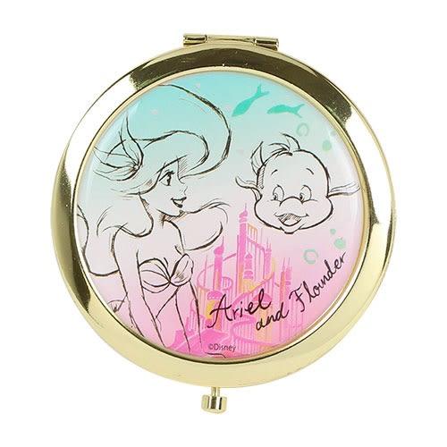 DISNEY 迪士尼公主夢幻素描金色滾邊雙面鏡(小美人魚)★funbox★Marimo_FT47662