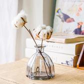 田園彩色玻璃干花花瓶 創意餐桌裝飾花藝擺件花瓶花器【快速出貨限時八折】