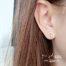 Favour.925純銀耀鑽太陽月亮不對稱穿針式耳環【sa083】911 SHOP