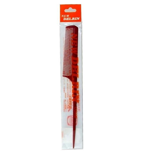 日本 DELRIN # 3 專業美髮尖尾梳 先細 紅色 耐藥性 耐久性 耐熱性