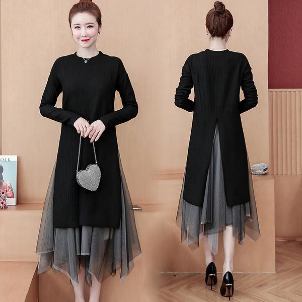 洋裝 連身裙~ 大碼女裝秋裝新款L-5XL複古針織裙子胖妹妹網紅紗裙兩件套套裝6013 M031 韓依紡