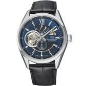 【台南 時代鐘錶 ORIENT STAR】東方之星 RE-AV0005L 鏤空機械錶 皮帶 藍/黑 41mm
