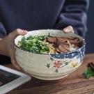 手繪釉下彩日式和風陶瓷大號面碗湯碗大碗沙拉碗泡面碗拉面碗家用 果果輕時尚